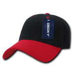 Custom Low Crown Structured Baseball Hat (Embroidered with Logo) - Black/Red - Decky 206