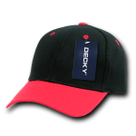 Custom Curve Bill Deluxe Baseball Hat (Embroidered with Logo) - Black/Red - Decky 207