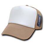 Custom Two-Tone Trucker Foam Mesh Hat (Embroidered with Logo) - Khaki - Decky 210