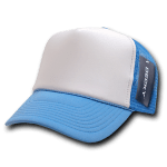 Custom Two-Tone Trucker Foam Mesh Hat (Embroidered with Logo) - Sky - Decky 210