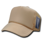 Custom Solid Color Trucker Mesh Foam Hat (Embroidered with Logo) - Khaki - Decky 211