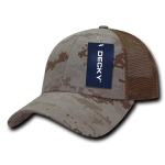 Custom Camo Trucker Baseball Cap (Embroidered with Logo) - Desert Camo - Decky 218