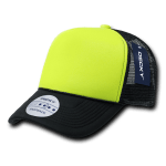 Custom Two-Tone Neon Trucker Foam Mesh Hat (Embroidered with Logo) - Neon Yellow - Decky 220