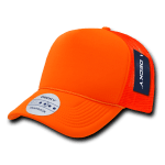 Custom Solid Color Neon Trucker Foam Mesh Hat (Embroidered with Logo) - Neon Orange - Decky 221