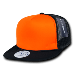 Custom Flat Bill Neon Trucker Foam Mesh Hat (Embroidered with Logo) - Black/Neon Orange - Decky 222