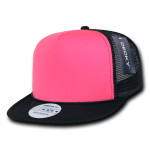 Custom Flat Bill Neon Trucker Foam Mesh Hat (Embroidered with Logo) - Black/Neon Pink - Decky 222