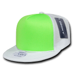 Custom Flat Bill Neon Trucker Foam Mesh Hat (Embroidered with Logo) - White/Neon Green - Decky 222