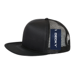 Custom Solid Color Flat Bill Trucker Foam Mesh Hat (Embroidered with Logo) - Black - Decky 223