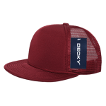 Custom Solid Color Flat Bill Trucker Foam Mesh Hat (Embroidered with Logo) - Cardinal - Decky 223