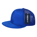 Custom Solid Color Flat Bill Trucker Foam Mesh Hat (Embroidered with Logo) - Royal - Decky 223