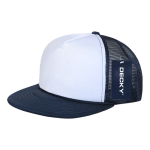 Custom Two-Tone Flat Bill Trucker Foam Mesh Hat (Embroidered with Logo) - Navy - Decky 224