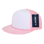 Custom Two-Tone Flat Bill Trucker Foam Mesh Hat (Embroidered with Logo) - Pink - Decky 224