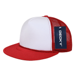 Custom Two-Tone Flat Bill Trucker Foam Mesh Hat (Embroidered with Logo) - Red - Decky 224