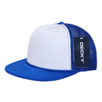 Custom Two-Tone Flat Bill Trucker Foam Mesh Hat (Embroidered with Logo) - Royal - Decky 224