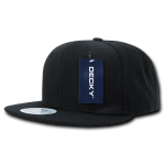 Custom Solid Color Classic Snapback Flat Bill Hat (Embroidered with Logo) - Black - Decky 350