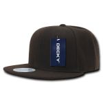 Custom Solid Color Classic Snapback Flat Bill Hat (Embroidered with Logo) - Brown - Decky 350