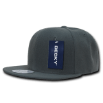 Custom Solid Color Classic Snapback Flat Bill Hat (Embroidered with Logo) - Charcoal - Decky 350