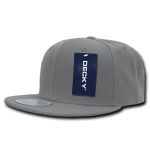 Custom Solid Color Classic Snapback Flat Bill Hat (Embroidered with Logo) - Grey - Decky 350
