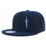 Custom Solid Color Classic Snapback Flat Bill Hat (Embroidered with Logo) - Navy - Decky 350