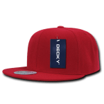Custom Solid Color Classic Snapback Flat Bill Hat (Embroidered with Logo) - Red - Decky 350