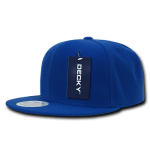 Custom Solid Color Classic Snapback Flat Bill Hat (Embroidered with Logo) - Royal - Decky 350