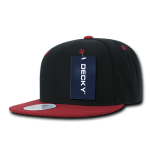 Custom Two-Tone Classic Snapback Flat Bill Hat (Embroidered with Logo) - Black/Cardinal - Decky 351