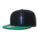 Custom Two-Tone Classic Snapback Flat Bill Hat (Embroidered with Logo) - Black/Kelly - Decky 351