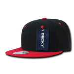 Custom Two-Tone Classic Snapback Flat Bill Hat (Embroidered with Logo) - Black/Red - Decky 351