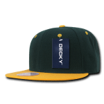 Custom Two-Tone Classic Snapback Flat Bill Hat (Embroidered with Logo) - Forest/Gold - Decky 351