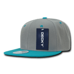 Custom Two-Tone Classic Snapback Flat Bill Hat (Embroidered with Logo) - Grey/Teal - Decky 351