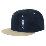 Custom Two-Tone Classic Snapback Flat Bill Hat (Embroidered with Logo) - Navy/V. Gold - Decky 351