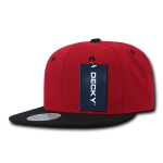 Custom Two-Tone Classic Snapback Flat Bill Hat (Embroidered with Logo) - Red/Black - Decky 351