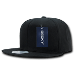 Custom Cotton Snapback Flat Bill Hat (Embroidered with Logo) - Black - Decky 361