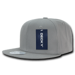 Custom Cotton Snapback Flat Bill Hat (Embroidered with Logo) - Light Grey - Decky 361