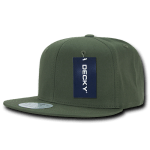 Custom Cotton Snapback Flat Bill Hat (Embroidered with Logo) - Olive - Decky 361