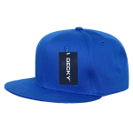 Custom Cotton Snapback Flat Bill Hat (Embroidered with Logo) - Royal - Decky 361