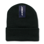 Custom Acrylic Long Knit Beanies (with cuff) (Embroidered with Logo) - Black - Decky 613
