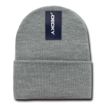 Custom Acrylic Long Knit Beanies (with cuff) (Embroidered with Logo) - Heather Grey - Decky 613