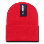Custom Acrylic Long Knit Beanies (with cuff) (Embroidered with Logo) - Red - Decky 613