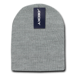 Custom Acrylic Short Knit Beanies (no cuff) (Embroidered with Logo) - Heather Grey - Decky 614