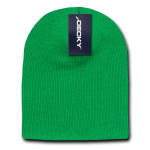 Custom Acrylic Short Knit Beanies (no cuff) (Embroidered with Logo) - Kelly Green - Decky 614