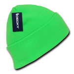 Custom Neon Acrylic Long Beanies (with cuff) (Embroidered with Logo) - Neon Green - Decky 813