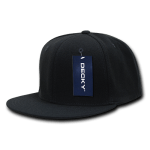 Custom Snapback Flat Bill Flex Hat (Embroidered with Logo) - Black - Decky 873