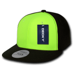 Custom Neon Flat Bill Snapback Flex Hat (Embroidered with Logo) - Neon Green - Decky 874