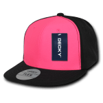 Custom Neon Flat Bill Snapback Flex Hat (Embroidered with Logo) - Neon Pink - Decky 874