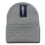 Custom Long Beanies (with cuff) (Embroidered with Logo) - Heather Grey - Decky KC