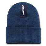 Custom Long Beanies (with cuff) (Embroidered with Logo) - Navy - Decky KC