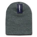 Custom Short Beanies (no cuff) (Embroidered with Logo) - Heather Charcoal - Decky KCS
