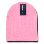 Custom Short Beanies (no cuff) (Embroidered with Logo) - Pink - Decky KCS