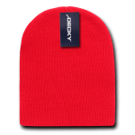 Custom Short Beanies (no cuff) (Embroidered with Logo) - Red - Decky KCS